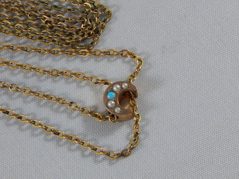 abc3cd9f74f Details about Antique Victorian Chain Necklace w/Heart Slide Gold ...