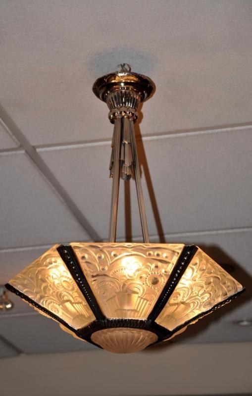 georges leleu lustre plafonnier art deco 1920 1925 plus d. Black Bedroom Furniture Sets. Home Design Ideas