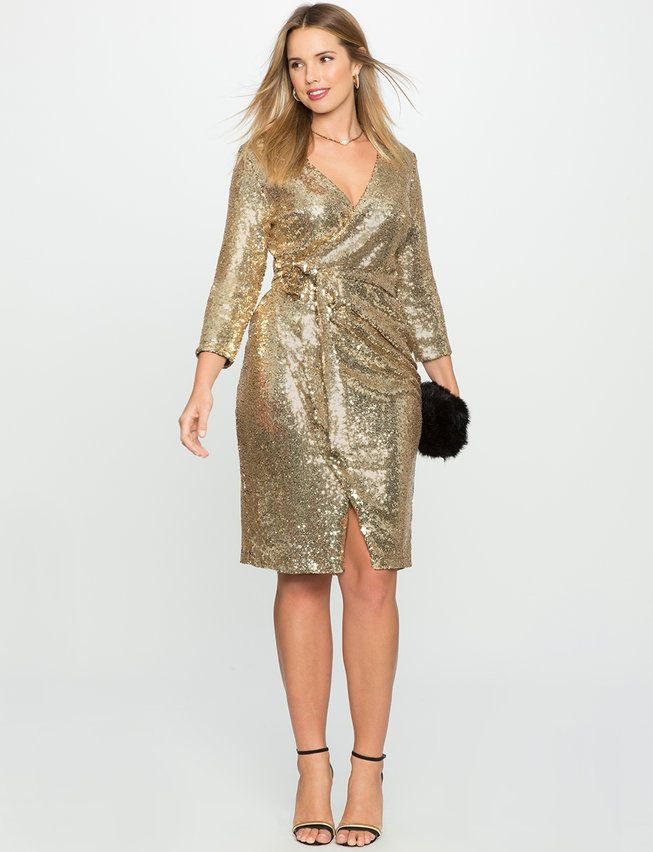 Studio Sequin Wrap Dress | Women\'s Plus Size Dresses | Plus ...