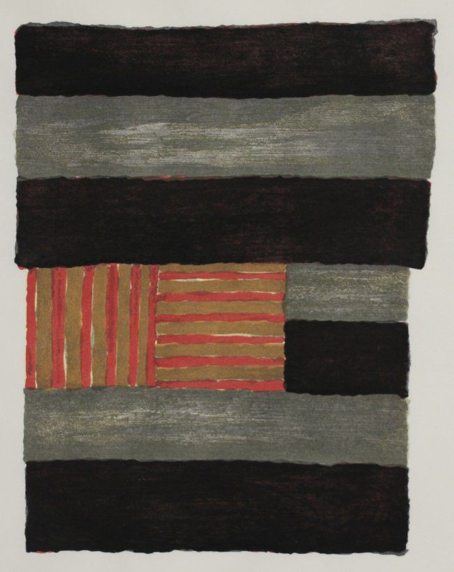 Sean Scully ''Narcissus''- print process set, 1991, 9 wood blocks and 1 print, print signed, dated, titled and numbered 4/30 in pencil. 11 x 9''