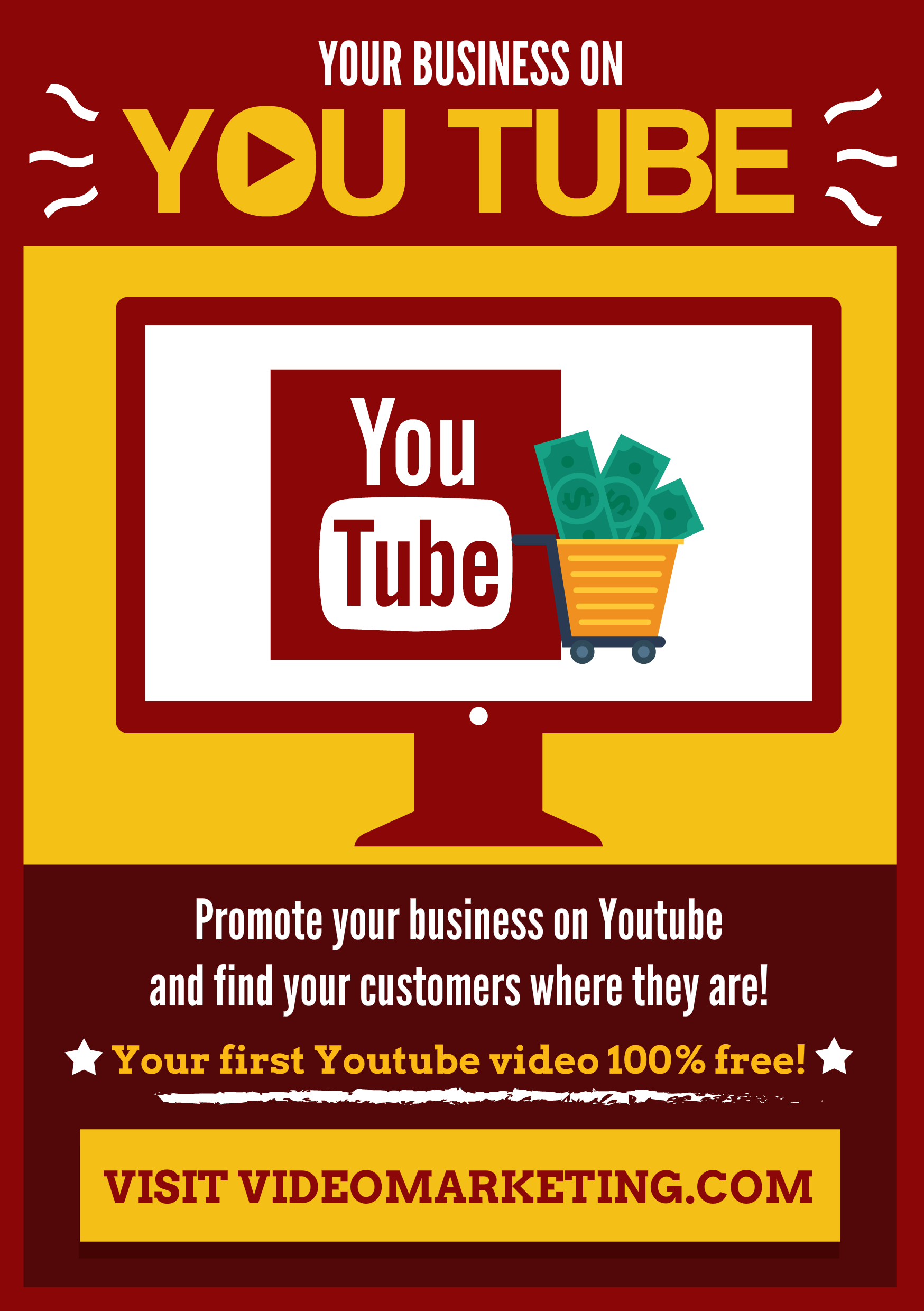 YouTube marketing A5 promotional flyer. http