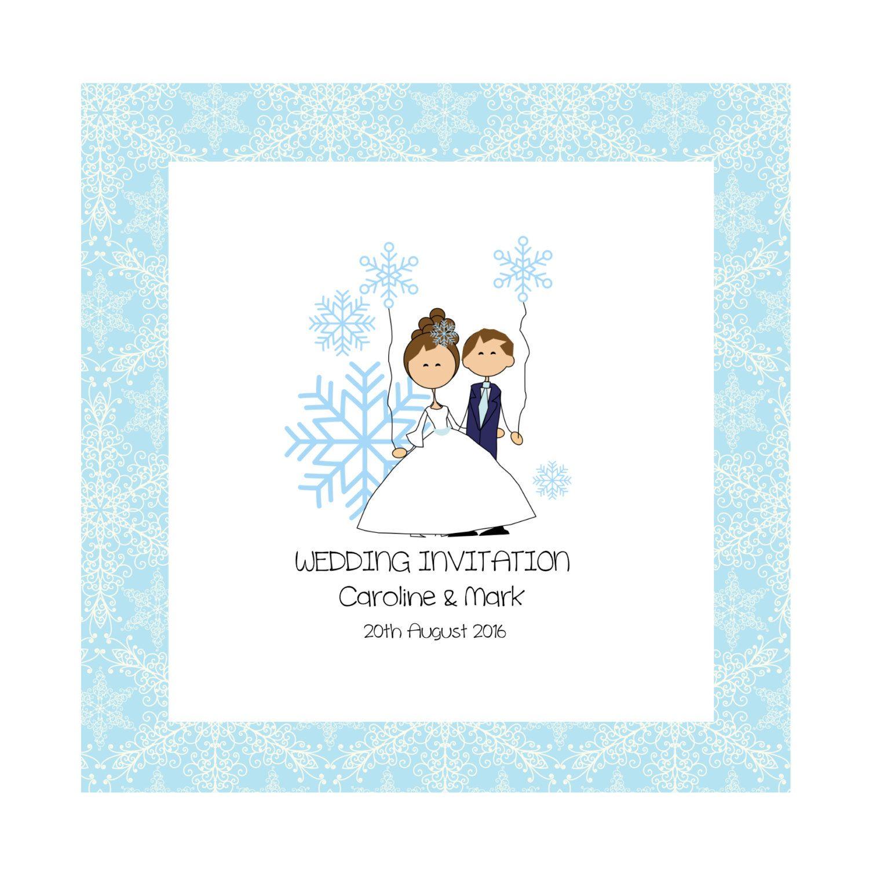 Snowflake Bride & Groom Personalised Wedding Invitations | wedding ...