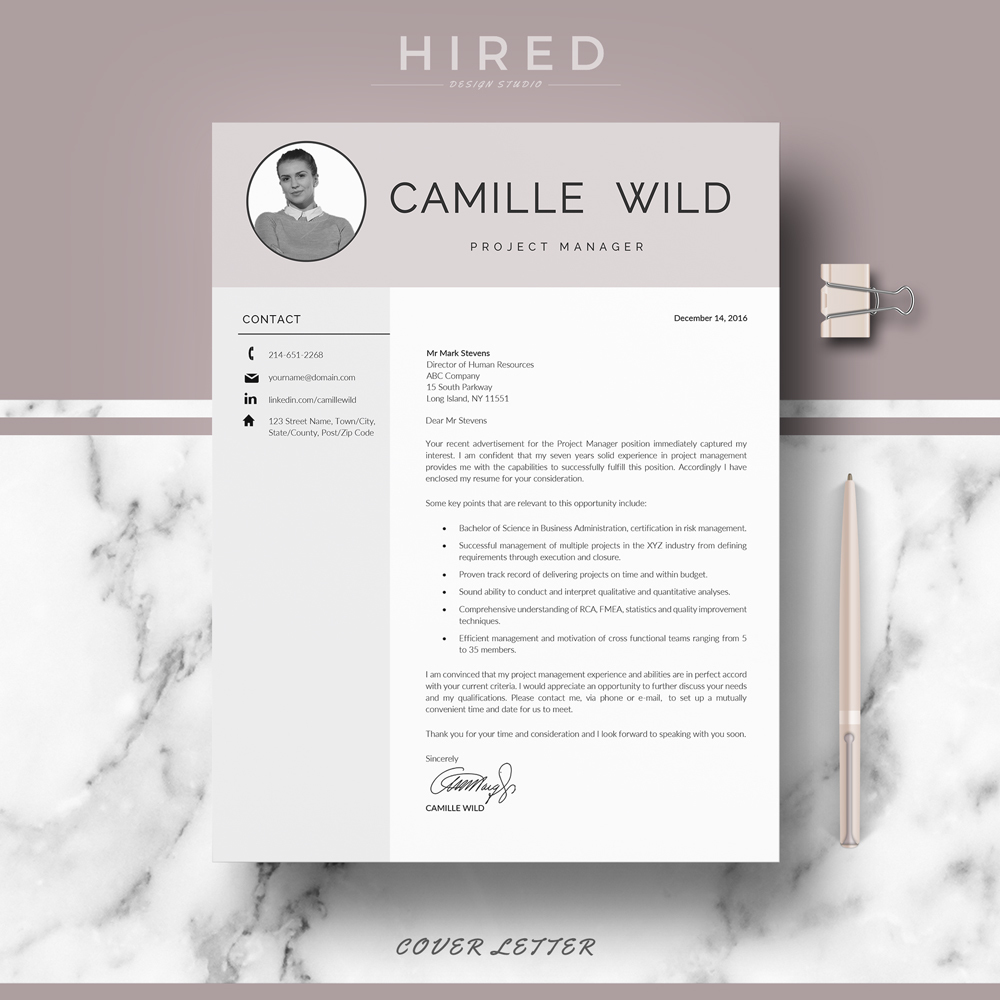 R30 CAMILLE WILD Professional CV Template for Sales