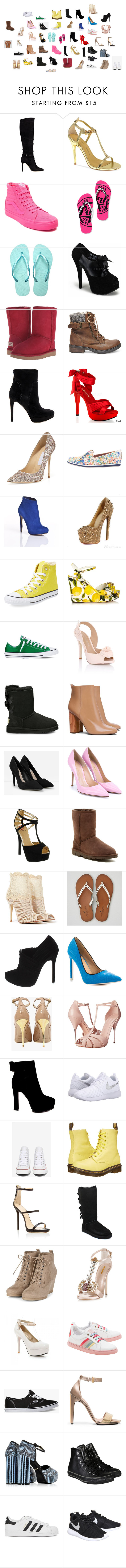 """""""Untitled #2641"""" by vampireprincess1d ❤ liked on Polyvore featuring GUESS, Chinese Laundry, Vans, Havaianas, UGG Australia, Steve Madden, Sam Edelman, Pleaser, Jimmy Choo and Rebecca Minkoff"""