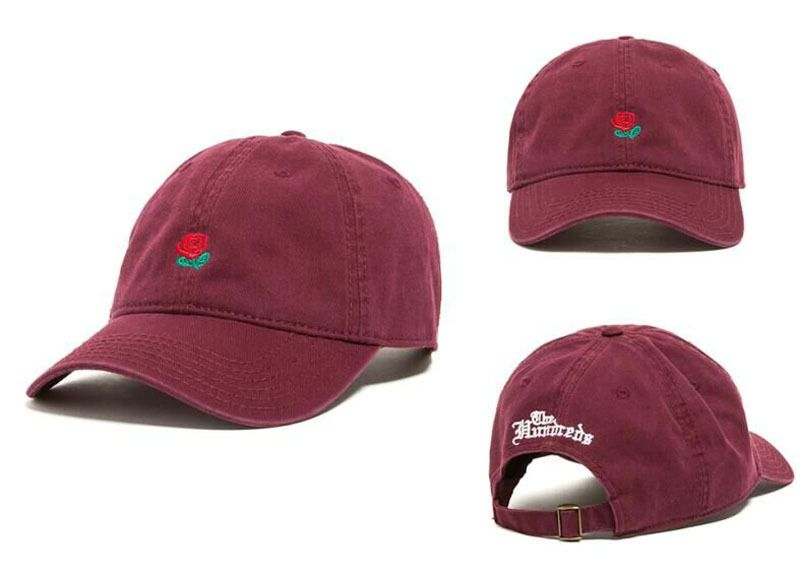 The Hundreds Rose Embroidered Hat Baseball Cap Fashion 2017 Unique Adjustable Embroidered Rose Casual Hats