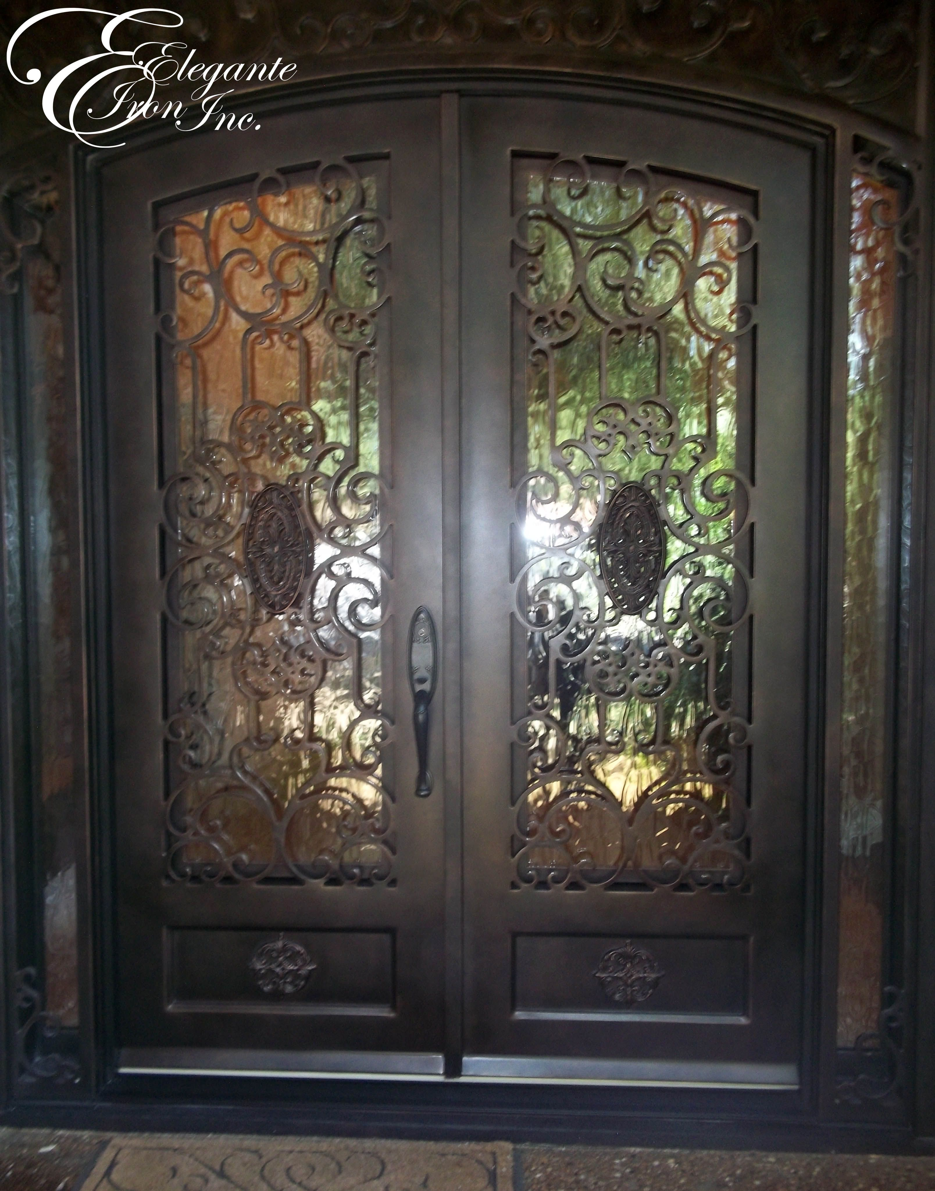 Custom Wrought Iron Door With Surround Outside Wrought Iron
