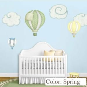 Hot Air Balloon Decals & Cloud Wall Stickers for Baby Room Nursery (Spring) - Sears