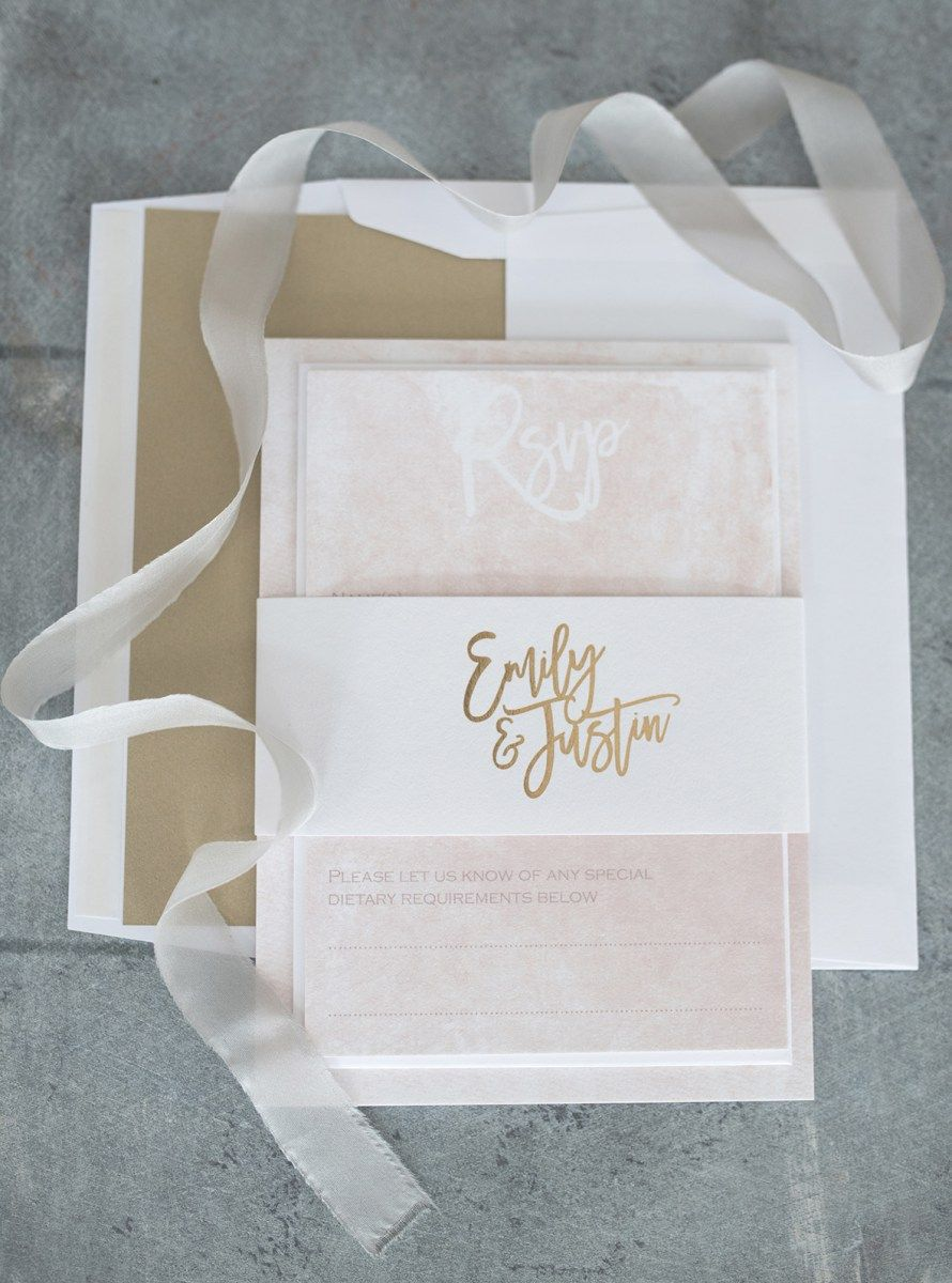 champagne blush wedding invitations%0A Blush marble and gold wedding invitations and stationery