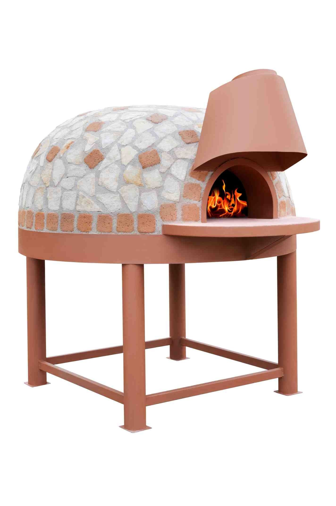 Mediterranean wood fired pizza oven - Wood Fired Pizza Oven Ceramic Tiles Mosaic Steel Storage For Wood