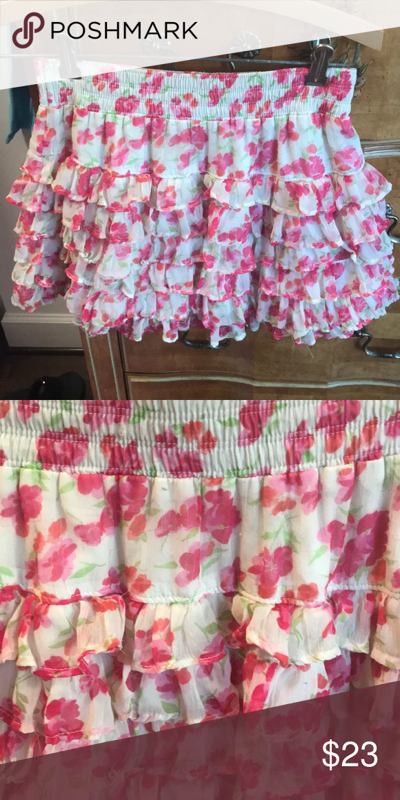 fffbdf1e7 Hollister skirt White and pink flower designed. Has six layers of ruffles  Size small Hollister Skirts Mini