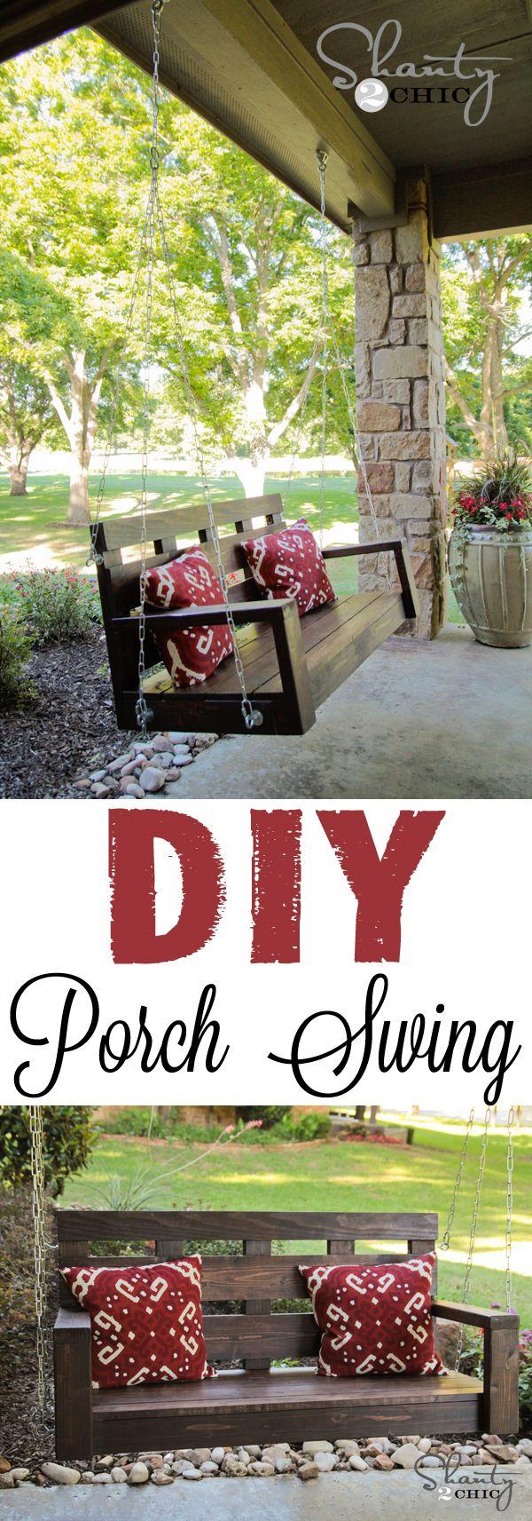 Porch Swing - DIY | Columnas, Piedra y Jardín