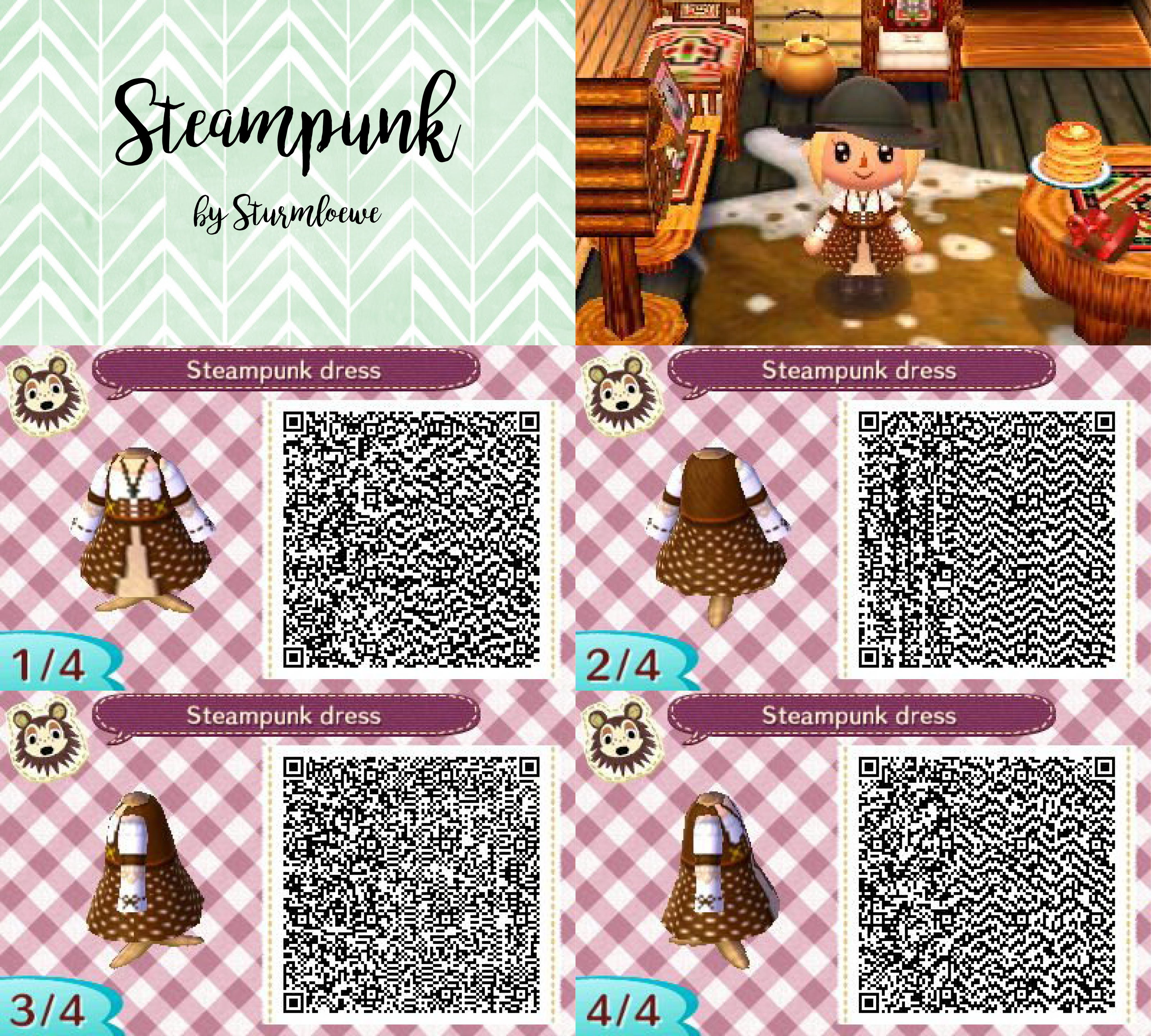 Steampunk dress qr code for Animal crossing new leaf (With ...