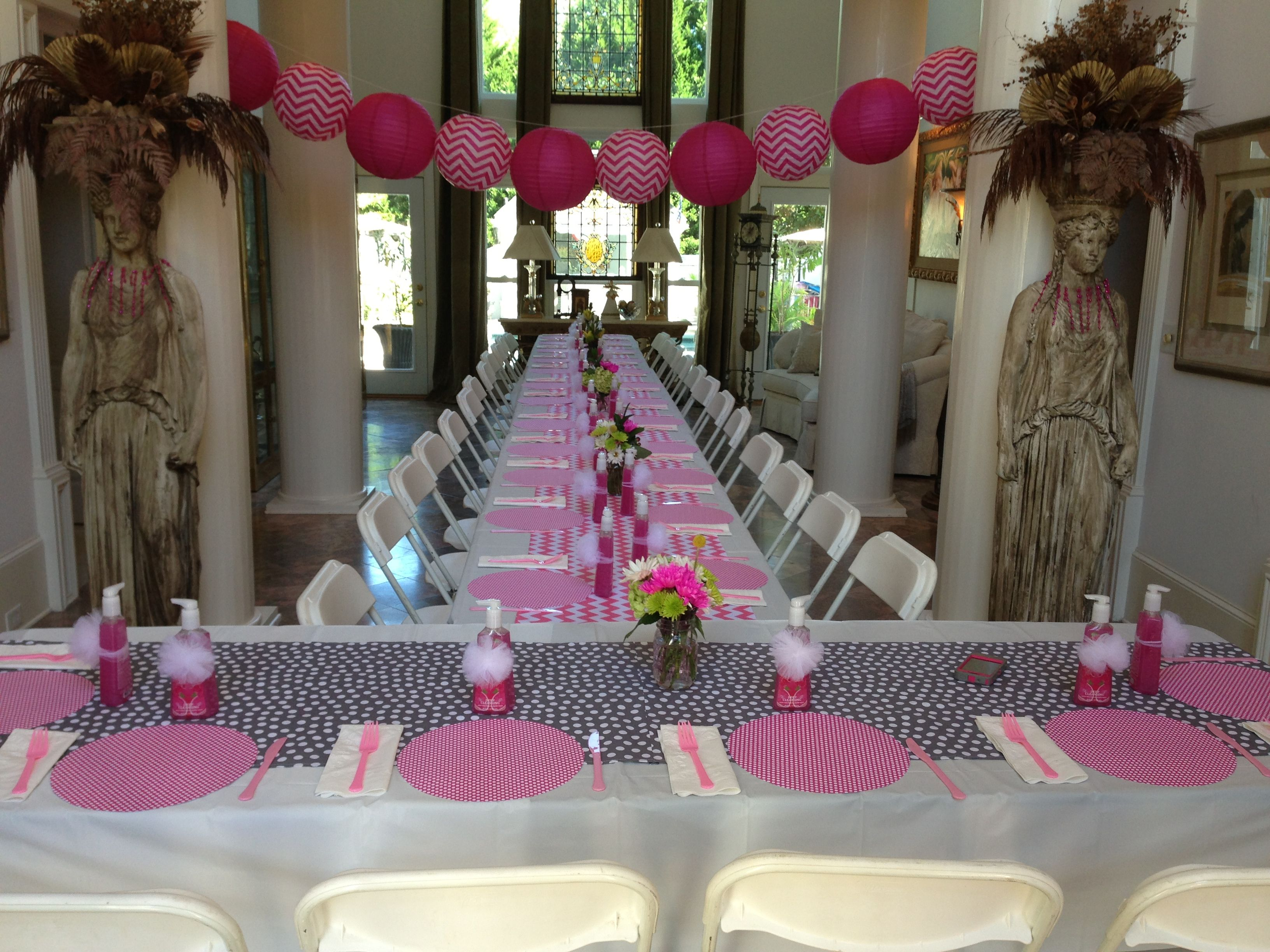 pink & gray baby shower party Pinterest