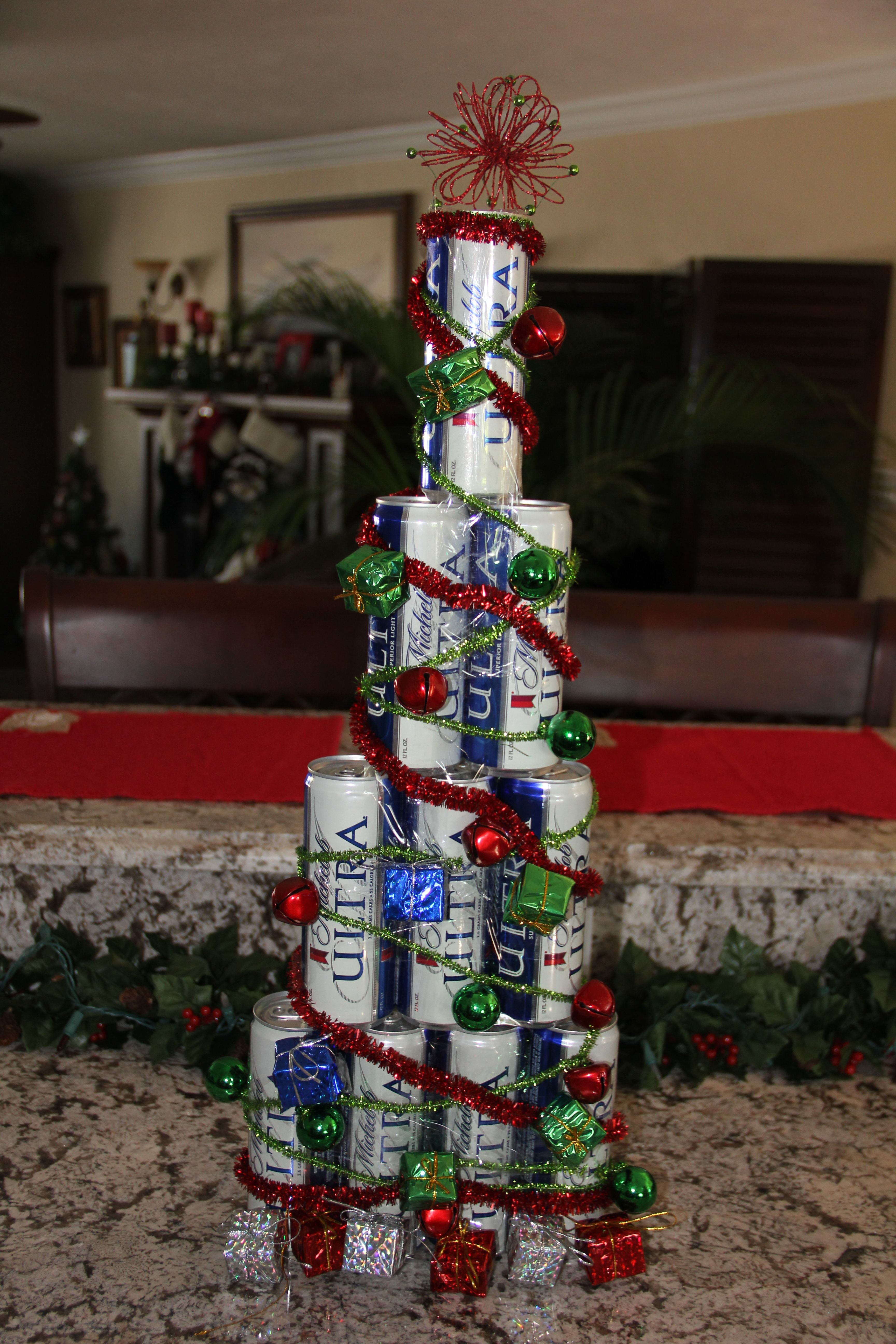 I Created This Christmas Tree Out Of Full Cans Of