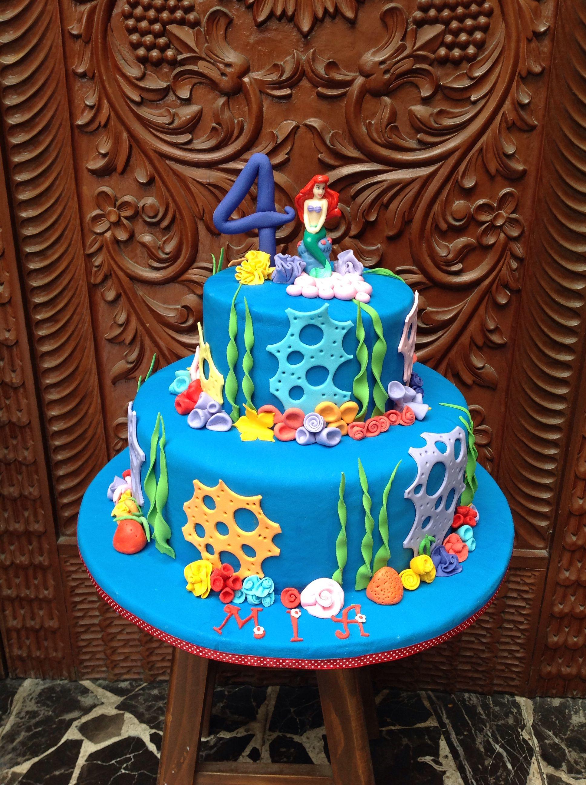 Little mermaid cake with ariel topper little mermaid