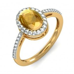 1.50 Carat Diamond and Citrine Ring in Yellow Gold - JewelOcean.com
