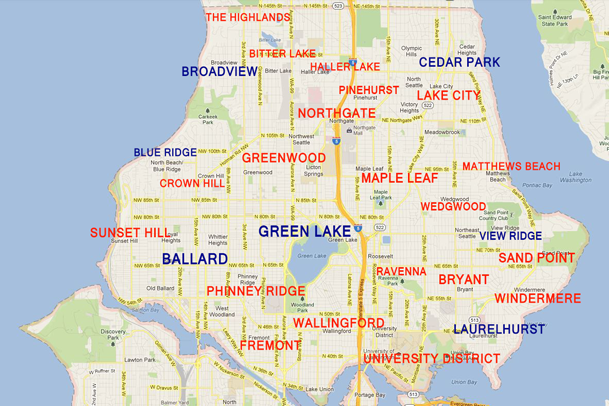north-seattle-neighborhood-map.png (609×406) | Seattle Washington ...