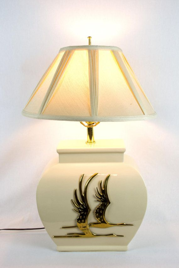 Mid century modern white ceramic lamp with brass geese detail by offcentermodern on etsy