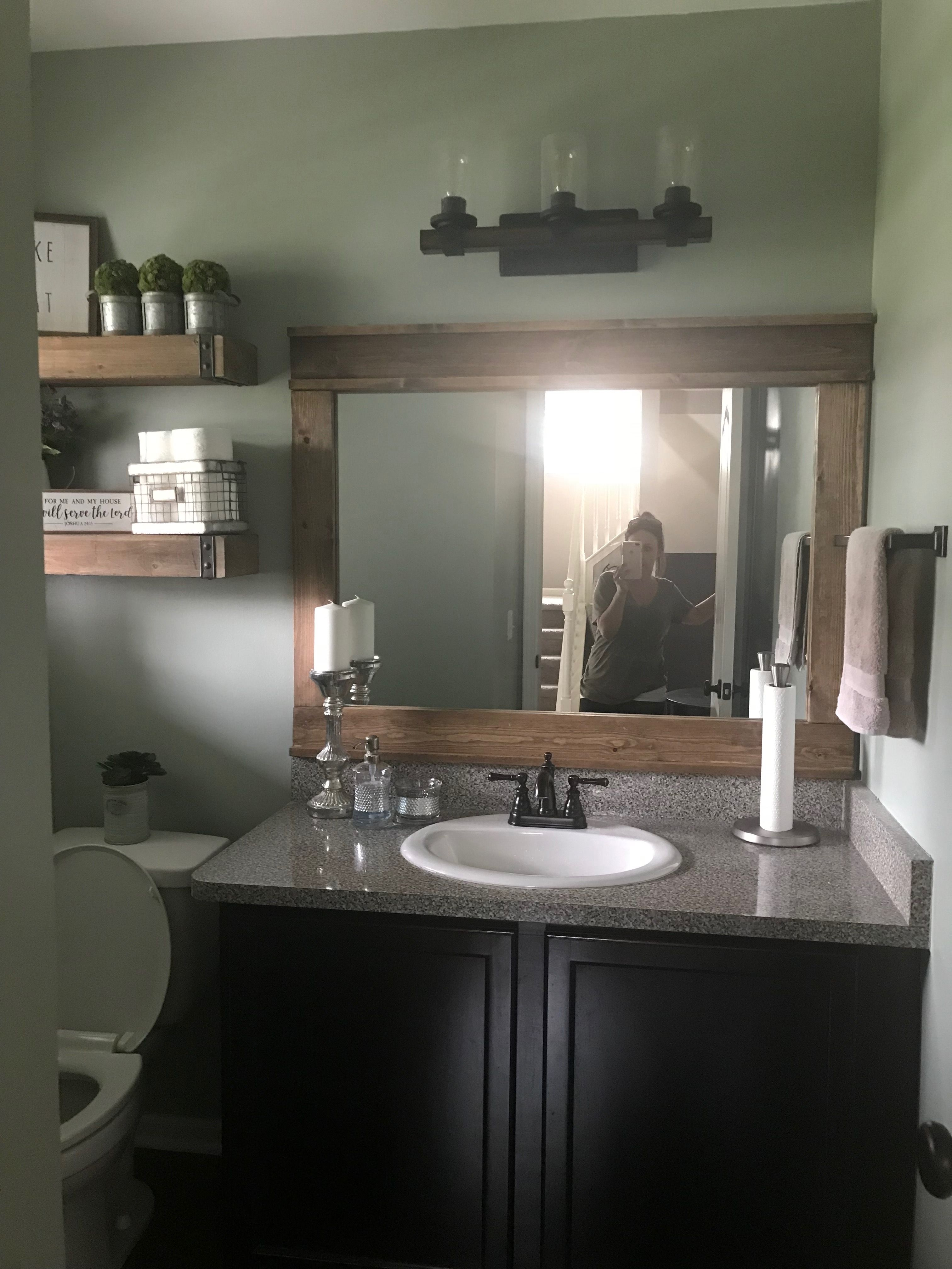 Diy rustic farmhouse bathroom mirror frame unique