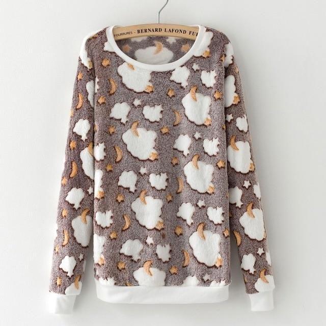 Novelty gray star moon Cloud Print Harajuku Sweatshirts Women 2017 Winter Warm Flannel Sweatshirts Cashmere Knitted Hoodies 3