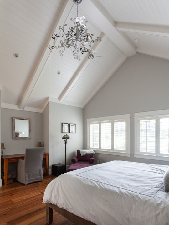 Beautiful grey and white master with cathedral ceiling and hard wood floors coastal va magazine Master bedroom with sloped ceiling