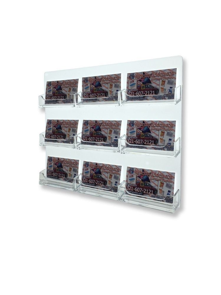 Qty 4 wall business card display rack 9 pocket card holder sturdy qty 4 wall business card display rack 9 pocket card holder sturdy acrylic 9 slot colourmoves