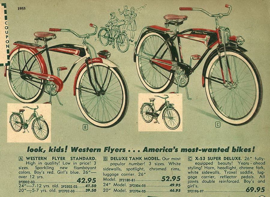 a4983ecae5f Here's a 1955 ad for the Western Flyer bicycles. They were sold by Western  Auto stores. Note the prices!