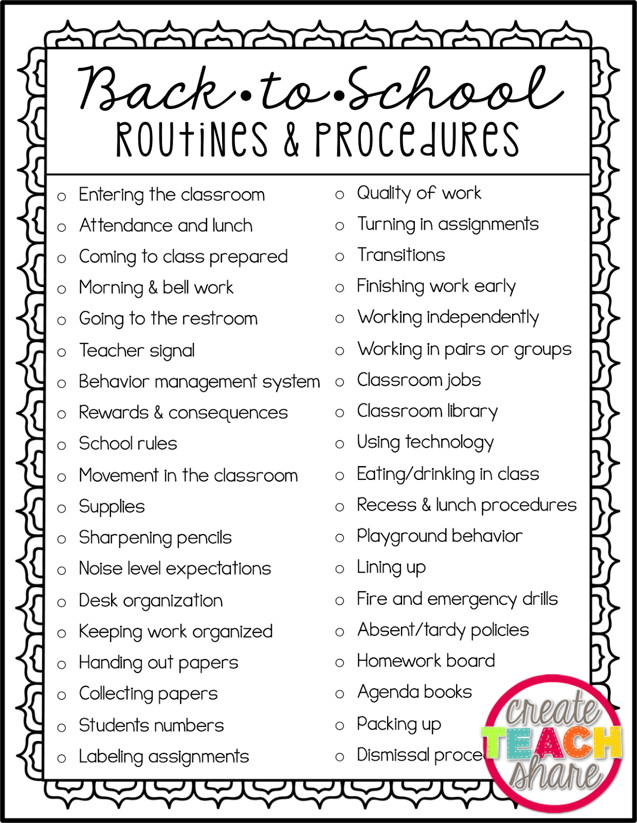Back To School Routines Amp Procedures