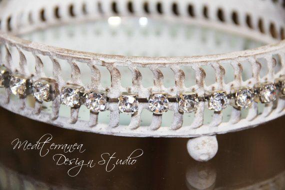 Antiqued mirrored tray, vintage mirror tray, embellished vanity tray,  Mediterranea Design Studio, - Antiqued Mirrored Tray, Vintage Mirror Tray, Embellished Vanity Tray