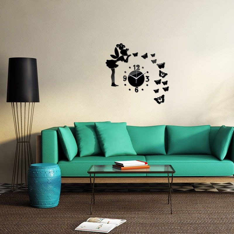 2016 Sale DIY Acrylic Mirror Fairy Butterfly Wall Sticker Wall Clocks Still  Life Adesivo De Parede