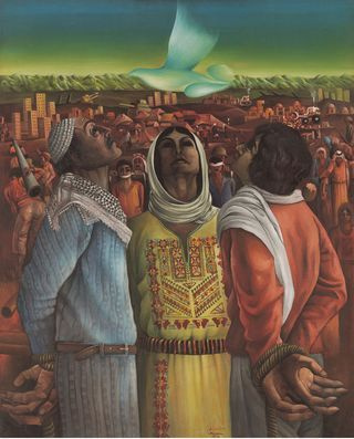 Perseverance and Hope, by Sliman Mansour, 1976; In Mathaf: the Arab Museum of Modern Art in Doha, Qatar. Mansour b. 1947 is Palestinian.