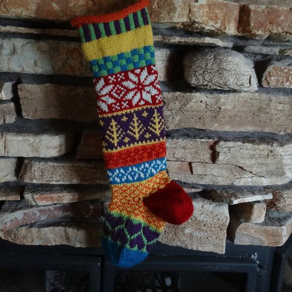 Another hand knit Christmas stocking with patchwork design by WarmedbytheHearth @Etsy