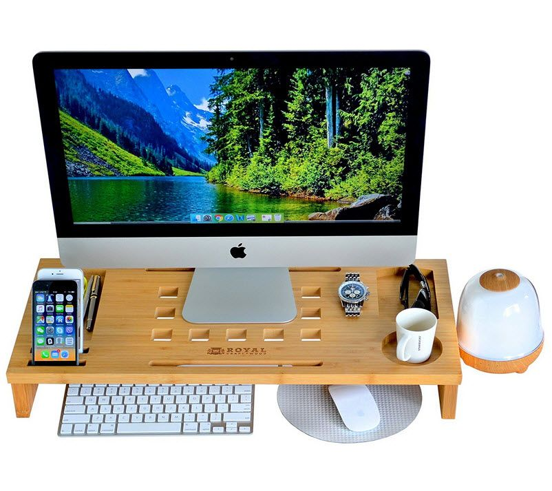 ROYAL CRAFT WOOD Luxury Monitor Stand Riser Bamboo Office Desk
