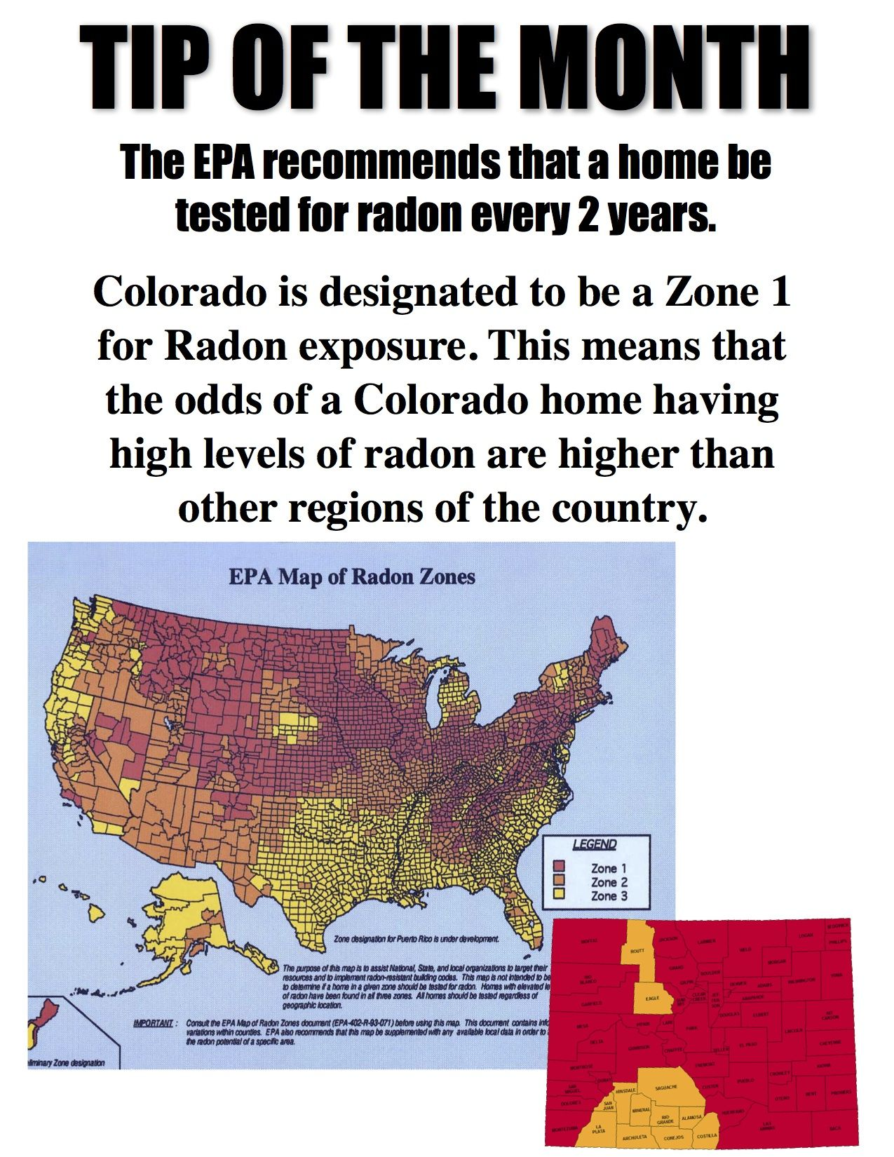 Radon Zone Map Of The United States Focus On Colorado What Is