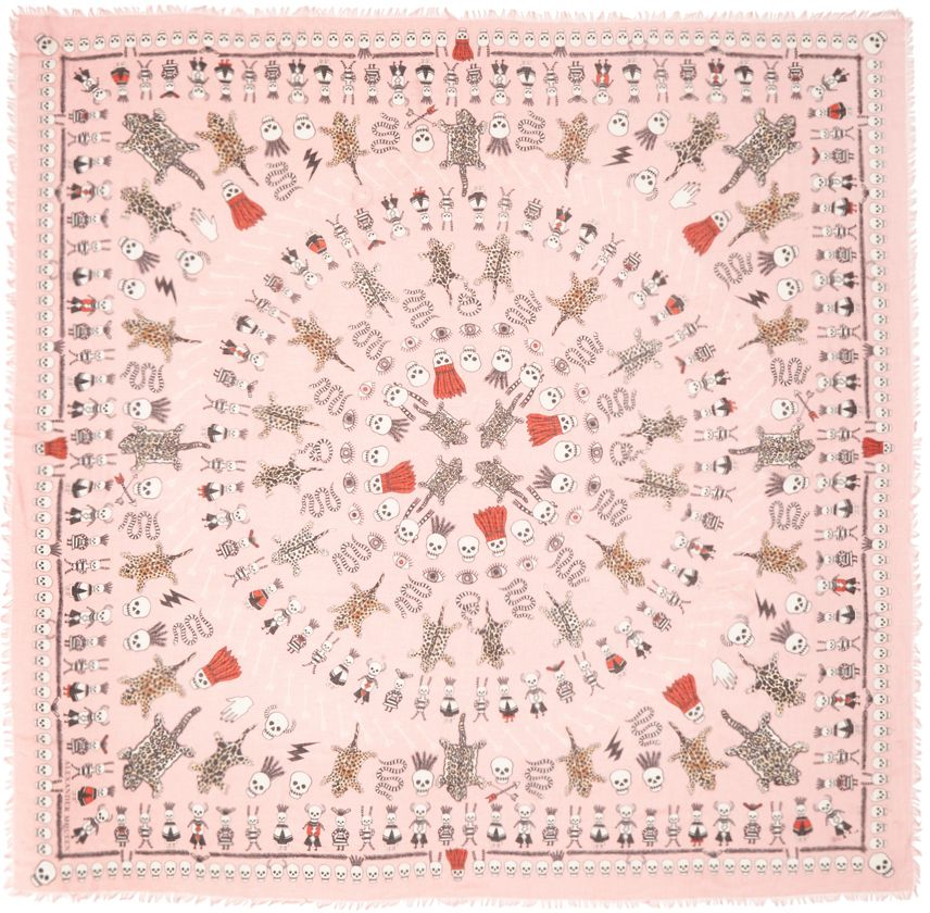 Square silk and modal-blend scarf in pink. Graphic pattern woven in tones of black, white, tan, and red throughout. Fringed trim at edges. Tonal stitching. Approx. 54