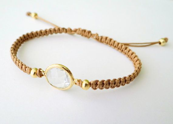 Macrame Bracelet with Crystal Glass Faceted by MaisJewelry on Etsy