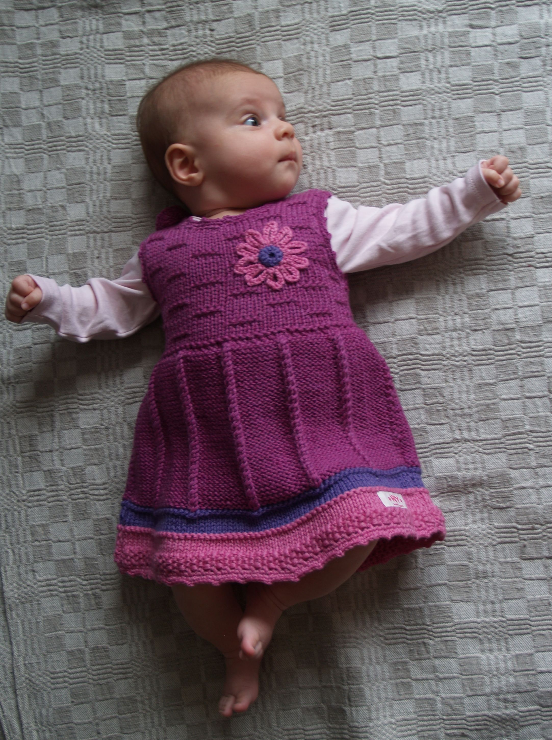 Baby Girl Clothes Hand Knit Tank Dress Orchid Purple Merino Wool