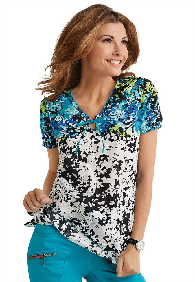 572d918ab25 EXCLUSIVELY at Scrubs & Beyond - Beyond Scrubs Floral Border print scrub top.  #scrubsandbeyond #exclusivelySB #printscrubs