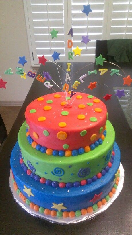 Colorful Cake Three Tier Birthday Cake Frosting With