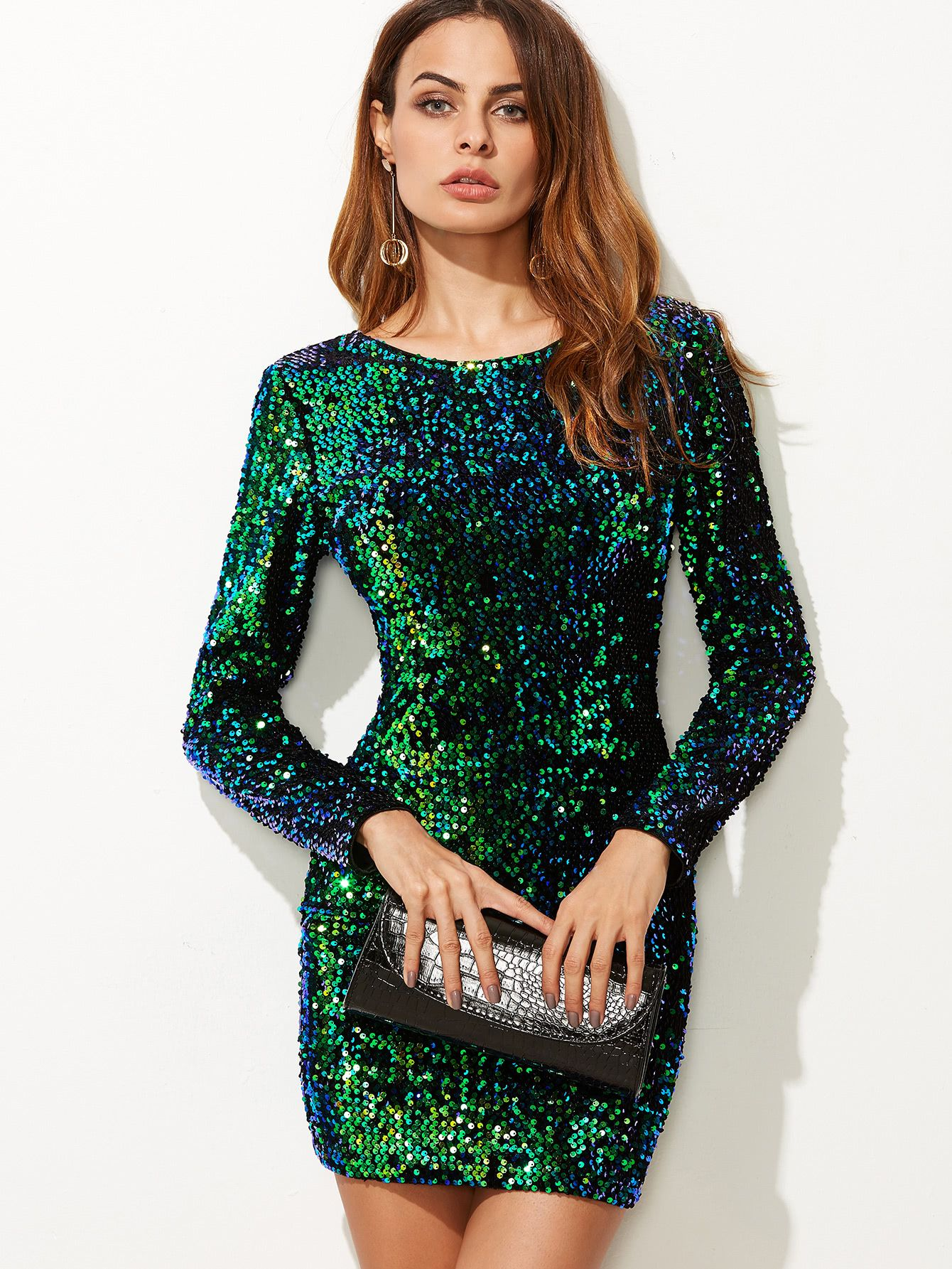 82015ecc284 Iridescent Long Sleeve Sequin Bodycon Dress GREEN | MakeMeChic.COM ...
