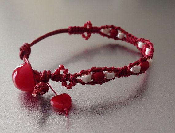 Red Bracelet Valentine Bracelet Ladder Bracelet by PBandJLane, $15.89