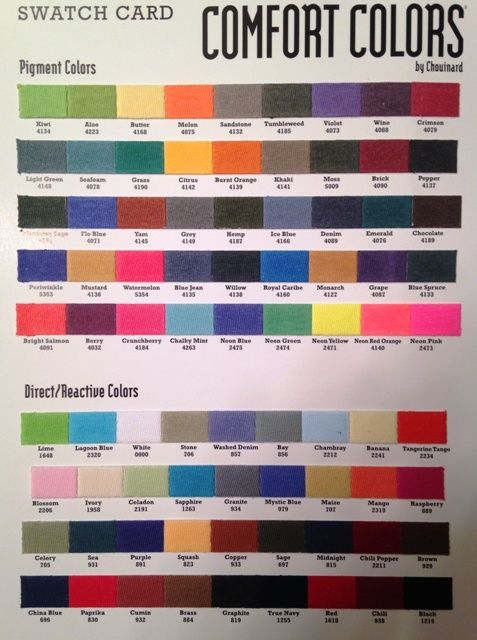 comfort color fabric swatch card