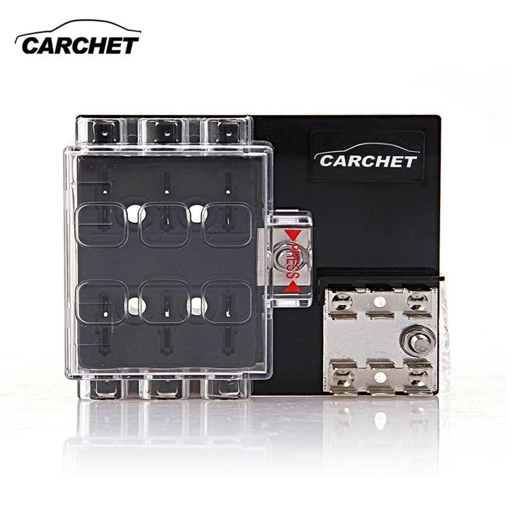 Sale Carchet Universal Fuse Box Board 6 Way Block Circuit Auto Holder With Cover 32v Accessory