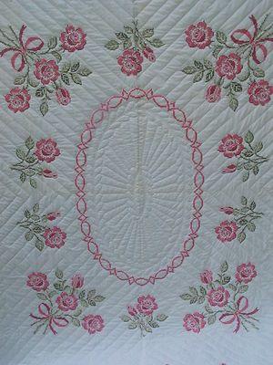 Handmade Rose Bouquet Cross Stitch Quilt