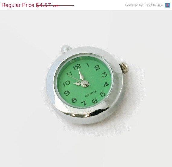Sale 1 quartz pendant watch face silver tone with green face sale 1 quartz pendant watch face silver tone with green face craft supplies aloadofball Choice Image