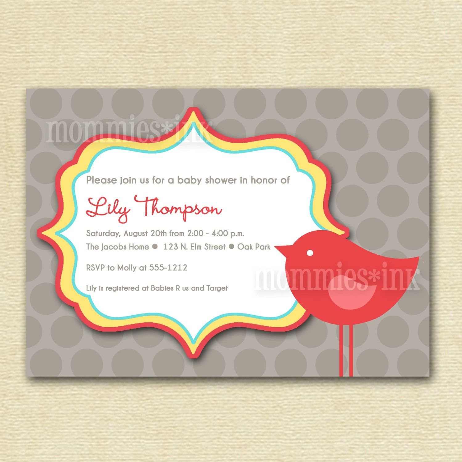 Baby Shower Invitation Backgrounds Free Custom Mod Bird Baby Shower Invitation  Printable Invitation Design .