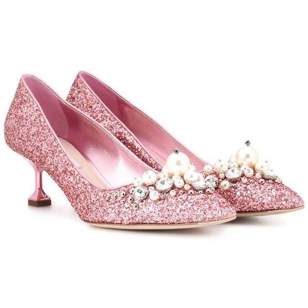 f741759aae08 Miu Miu Glitter Kitten-Heel Pumps ( 875) ❤ liked on Polyvore featuring shoes