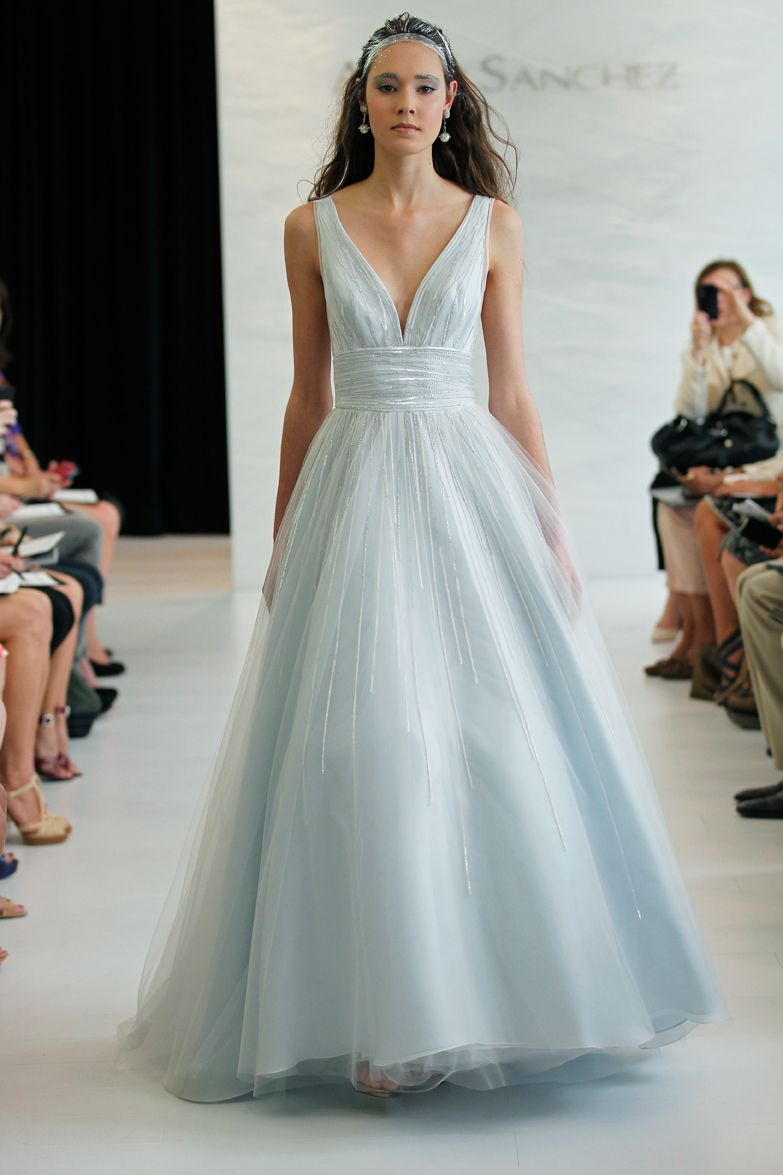 Light blue v-neck tulle and silk ball gown with silver beading ...