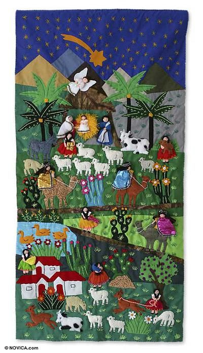 Applique Wall Hanging Nativity Scene In 2021 Applique Wall Hanging Christmas Quilts Christmas Scenes