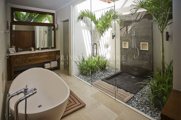 Beau Beautiful Light Bright Balinese Bathroom Slate Pebbles And Darkwood More